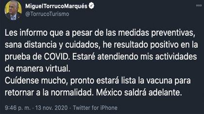 El funcionario informó de su padecimiento en Twitter (Foto: Twitter@TorrucoTurismo)