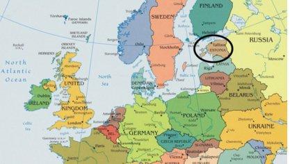 Estonia en el mapa de Europa