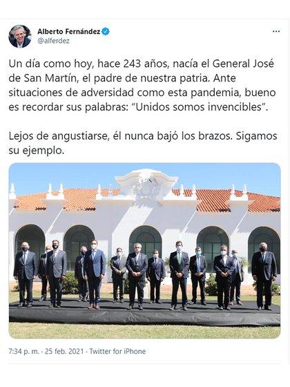 El tuit de Alberto Fernández desde Corrientes.