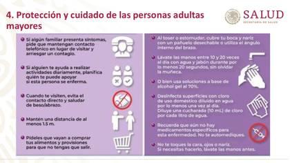 Estas son las medidas para los adultos mayores y sus familiares para evitar contagios por coronavirus (Foto: Secretaría de Salud del Gobierno de México)