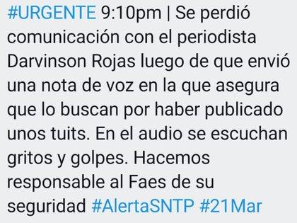 Periodistas alertaban en redes sociales la desaparición de Rojas