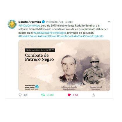 Este es el tuit que borró el Ejército argentino