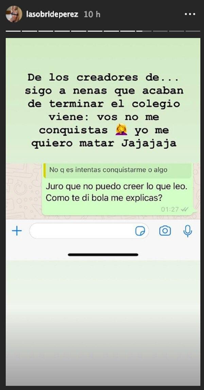 Sol Pérez tiene tres millones y medio de seguidores en Instagram, red social en la que publicó la conversación con el chico con el que estaba saliendo
