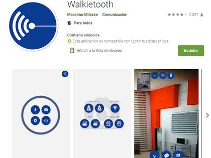 walkietooth sólo está disponible para Android.