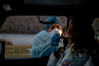 A drive-through COVID-19 testing site at Beltzville State Park in Lehighton, Pa., Jan. 20, 2021. President Joe Biden announced a sprawling 200-page national pandemic strategy on Thursday, including an increase to testing capacity.  (Hilary Swift / The New York Times)