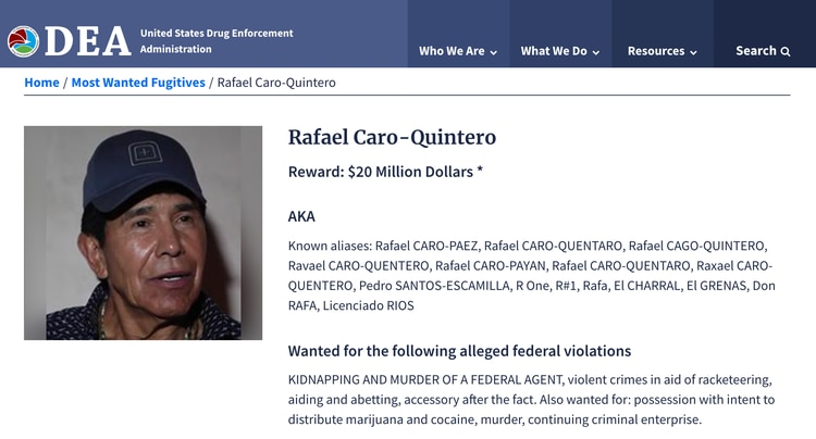 Rafael Caro Quintero, entre los más buscados por la justicia de EEUU.