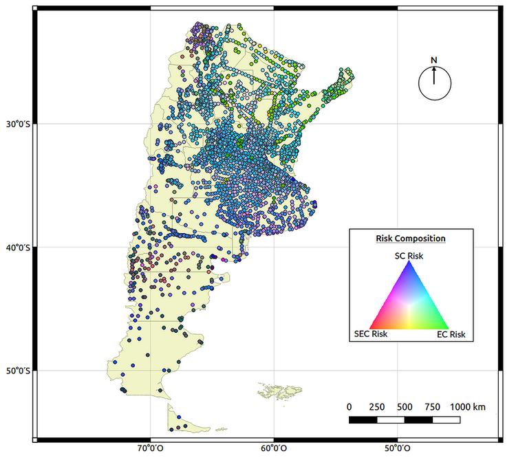 Mapa RVA (Rojo, Verde, Azul) final desarrollado para describir las características predominantes que aumentan el riesgo de geohelmintos. El riesgo asociado a las características socioeconómicas aparece en rojo, a las características ambientales en verde y a las características del suelo en azul (Open Source Geospatial Foundation Project)