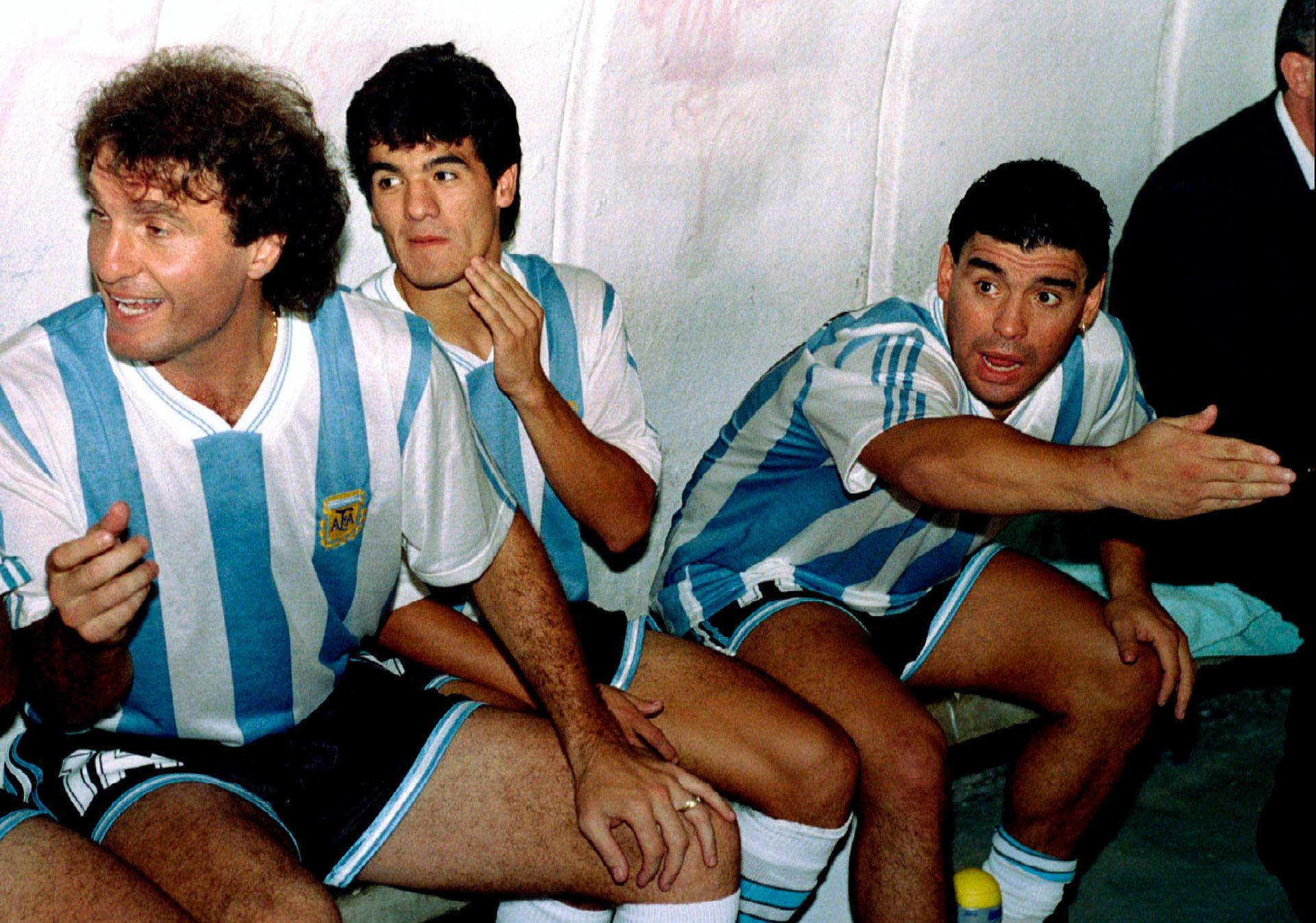 Oscar Ruggeri, Ariel Ortega y Diego Maradona