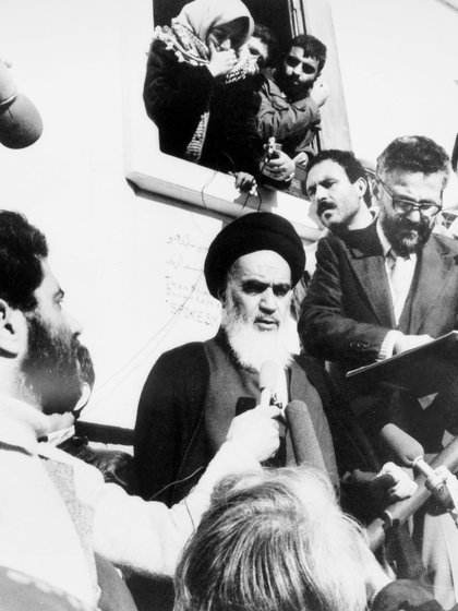 Mandatory Credit: Photo by Granger/Shutterstock (8699262a)Iranian Revolution, 1979. Muslim Opposition Leader Ayatollah Khomeini Addresses Supporters Outside His Residence In Neauphle-Le-Chateau, France, On The Occasion Of Shah Mohammed Reza Pahlavi'S Departure From Iran, 16 January 1979.Iranian Revolution, 1979.