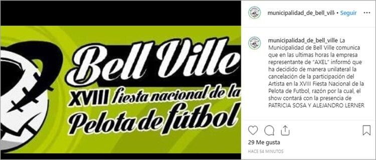 El anuncio de la suspensión del show de Axel. La fecha original había sido pautada para el sábado pasado, pero también debió suspenderse, aunque por razones climáticas (Instagram)