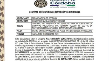 La Gobernación de Córdoba y el Consorcio 'Navidad sin Pólvora 2020', firmaron un contrato por un valor de 150 millones de pesos. Crédito: Contrato Oficial