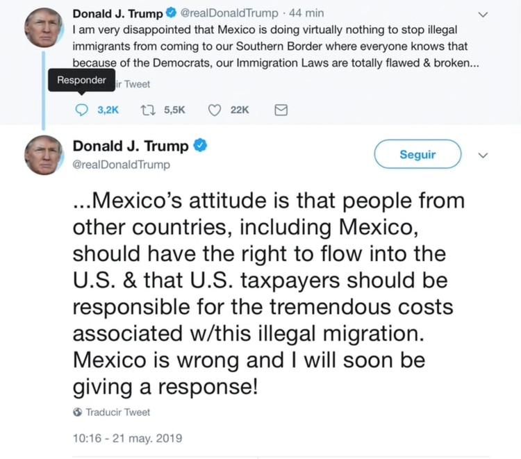 """El mensaje de Trump sobre su """"decepción"""" con México por su política migratoria (Foto: Twitter @realDonaldTrump)"""