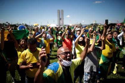 Los seguidores de Bolsonaro se manfiestaron en contra del Congreso, de la Corte Suprema y del ex ministro Sergio Moro (REUTERS/Ueslei Marcelino)