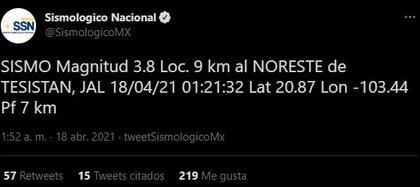 El SSN confirmó el sismo en Zapopan (Foto: Twitter/SismologicoMX)