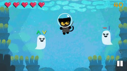 This game stars a black cat who is haunted by a ghost
