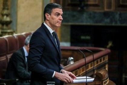 El presidente del Gobierno español Pedro Sánchez durante su intervención en el Congreso este miércoles (Dani Duch/Pool via REUTERS)