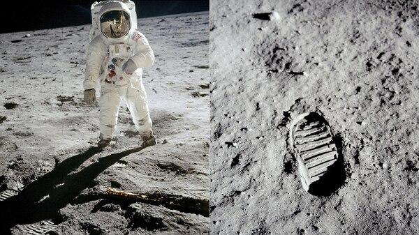 Buzz Aldrin caminando sobre la superficie de la luna en 1969 durante la misión Apollo 11 (izquierda) y su huella (derecha) (AP)