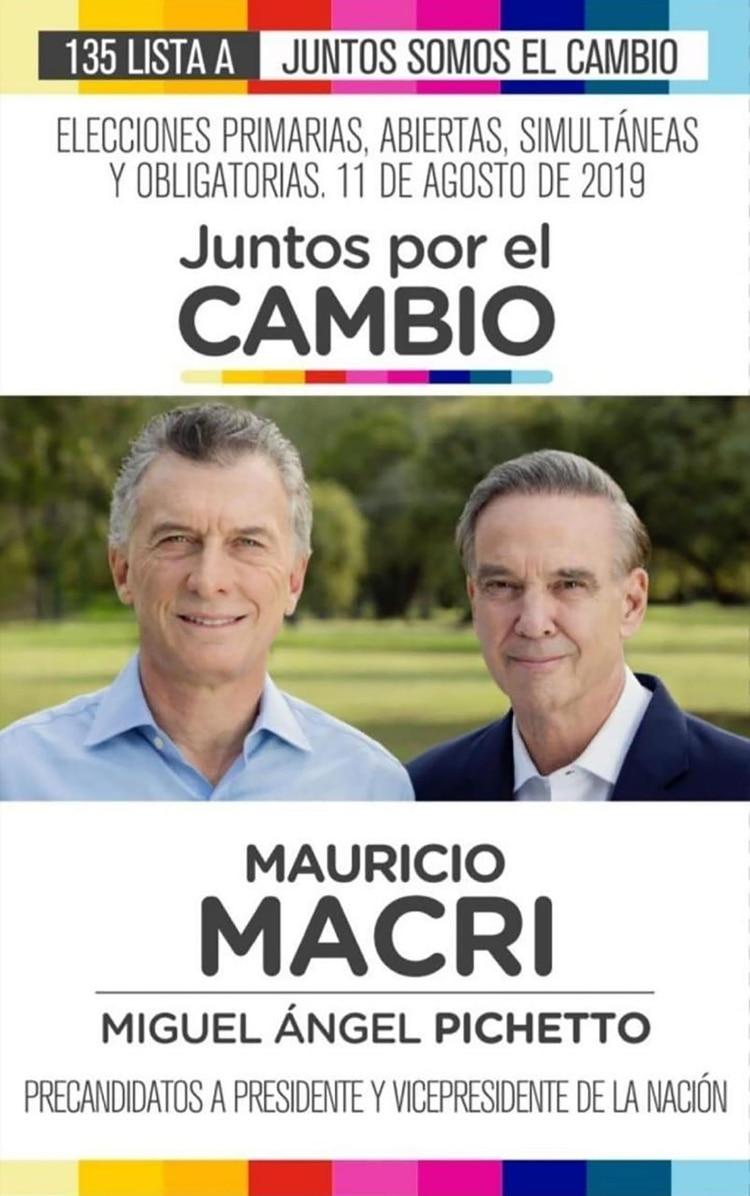 Boleta oficial de Macri y Pichetto: la fórmula oficialista reconoce que pierde en las PASO y jugará todo para remontar en primera vuelta y ganar en el balotaje