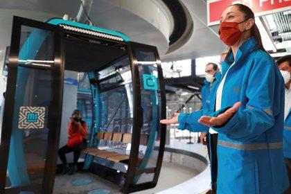 Claudia Sheinbaum, Jefa de Gobierno de la Ciudad de México, inauguró las dos estaciones del Cablebús. (Foto: EFE/ Carlos Ramírez)