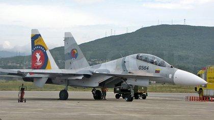 Un caza Sukhoi Su-30MK2 en los colores de Venezuela