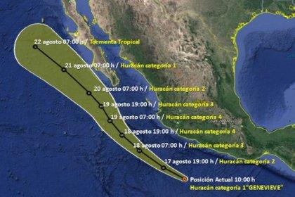 Trayectoria del huracán Genevieve en los próximos días (Foto: Servicio Meteorológico Nacional/Conagua Clima)