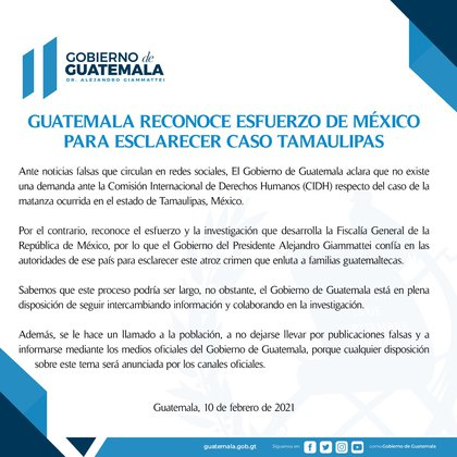 This was the statement issued by the Government of Guatemala to clarify the situation with Tamaulipas (Photo: Government of Guatemala)