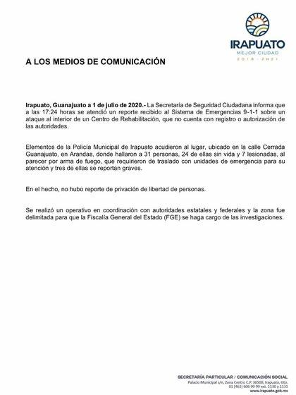Comunicado oficial del gobierno local respecto a la matanza en Irapuato (Foto: Cortesía)