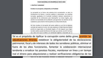 El Plan Nacional de Desarrollo se establece que el gobierno prohibirá las adjudicaciones directas. Foto: Plan Nacional 2019-2024