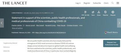 """""""Declaración en apoyo a los científicos, profesionales de salud y profesionales médicos de China que luchan contra el COVID-19"""". La carta inspirada por Peter Daszak en The Lancet que condenaba las supuestas """"teorías conspirativas"""" y defendía a los científicos chinos"""