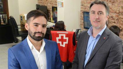 Rodrigo Cuba y Diego Tipping, de Cruz Roja Argentina. Foto: Fernando Calzada.