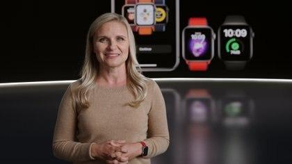 Deidre Caldbeck  durante la presentación de Apple el 15 de septiembre. (Apple Inc/Handout via REUTERS.)