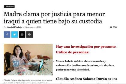 Claudia Salazar es la mujer que denunció el caso en un medio local.  Reveló que la niña refugiada fue víctima de abusos físicos y que su supuesto padre intentó matarla