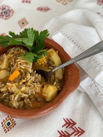 Guiso de arroz con vegetales