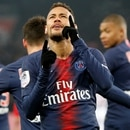 Soccer Football - Ligue 1 - Paris St Germain v Guingamp - Parc des Princes, Paris, France - January 19, 2019 Paris St Germain's Neymar celebrates scoring their first goal REUTERS/Charles Platiau