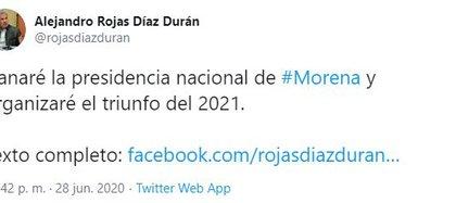 Rojas Díaz Durán anunció su candidatura a la presidencia nacional de Morena (Foto: Twitter / @rojasdiazduran)