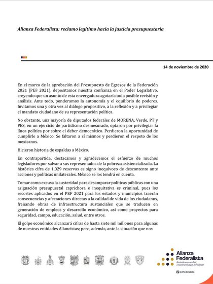 First part of the text of the Federalist Alliance against PEF 2021 (Photo: Twitter / @AFederalista)