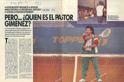 A mediados de los '80 El Pastor Giménez irrumpió con su particular estilo en los medios (Revista Gente – Gentileza del archivo Tea y Deportea)
