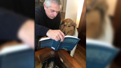 Alberto Fernández, su perro Dylan, y un libro de Alfonsin en la previa de las PASO
