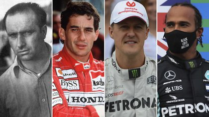 Fangio, Senna, Schumacher y Hamilton, cuatro de los mejores pilotos en la historia de la Fórmula 1