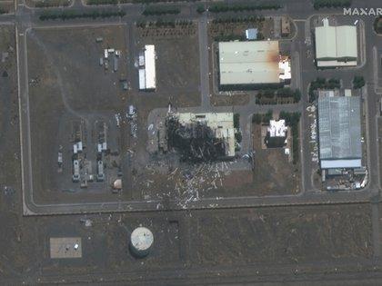 El edificio dañado en la instalación nuclear de Natanz en una foto satelital de julio 2020 (Maxar Technologies/REUTERS)