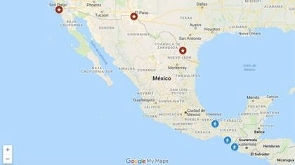 En el mapa están marcados tres posibles puntos de ingreso a Estados Unidos (Imagen: Google)