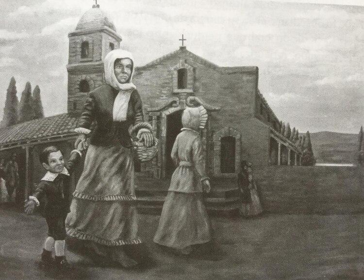 Cuadro donde se la vea a Rosa Guarú y al pequeño Francisco José. Es un óleo mural de Rubén Vispo, que está en el Museo Sanmartiniano de Corrientes