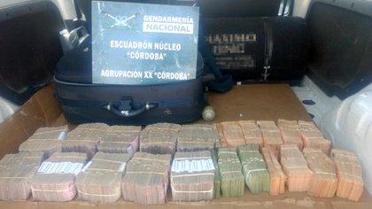 El dinero incautado en Córdoba