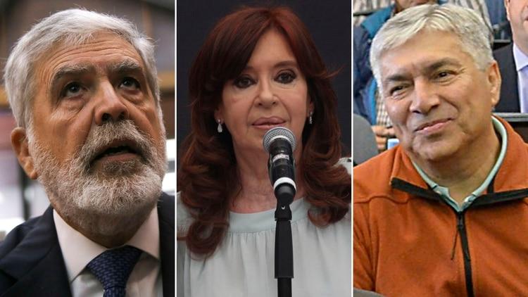 Julio De Vido, Cristina Kirchner y Lázaro Báez, tres de los acusados en el caso de la obra pública