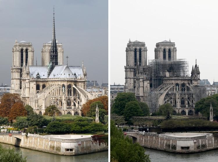 Vista panorámica de la catedral de Notre Dame, antes y después de la tragedia (Reuters)