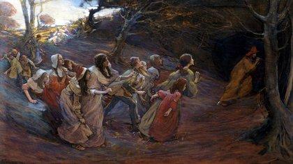 """""""El flautista de Hamelin"""", de la pintora canadiense Elizabeth Forbes"""