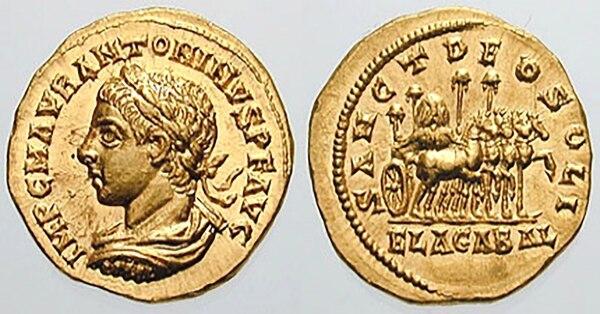 Moneda romana de oro representando al emperador Heliogábalo. En el reverso se lee Sanct Deo Soli Elagabal (Al sagrado dios del sol Elagabal)