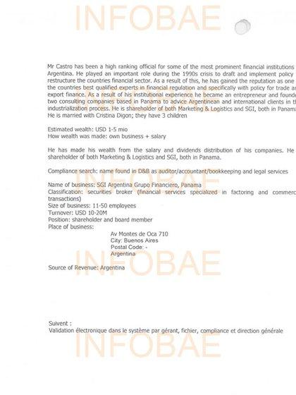 El informe KYC del banco Safra que vincula a Lázaro Báez con las cuentas abiertas en la entidad
