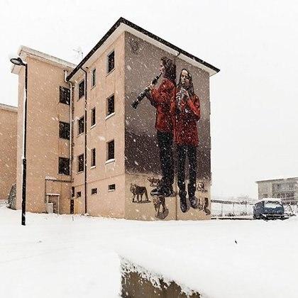 Una de las obras de Milu en Lioni, provincia de Avellino, Italia