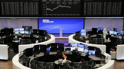 FILE PHOTO: The German share price index DAX graph is pictured at the stock exchange in Frankfurt, Germany, November 5, 2020.    REUTERS/Staff